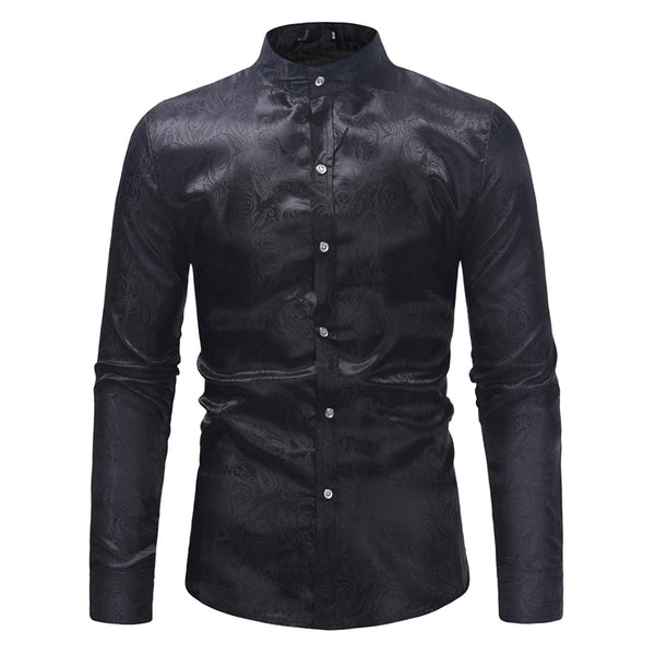 Standing Collar Paisley Black Shirt