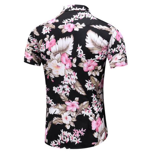 Slim Fit Floral Printed Shirt Pink