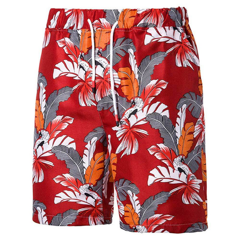 Relaxed Fit Leaf Print Beach Shorts Red
