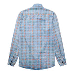Slim Fit Plaid Paisley Shirt LightBlue