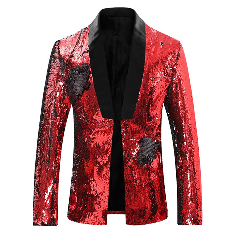 Red Buttonless Reversible Sequins Satin Collar Blazer
