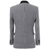 3-Piece Slim Fit Houndstooth Dress Suit Black - Cloudstyle