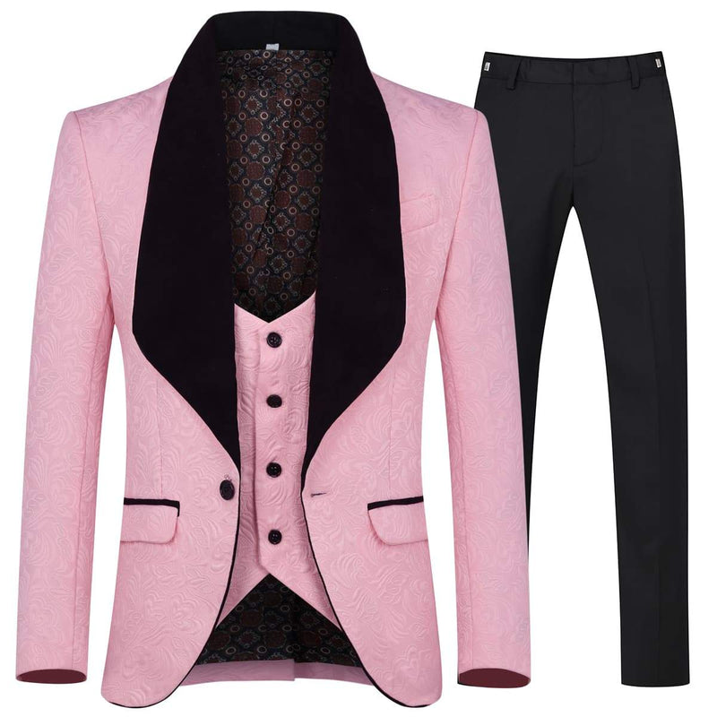 3-Piece Paisley Pink Suit Shawl Collar Suit