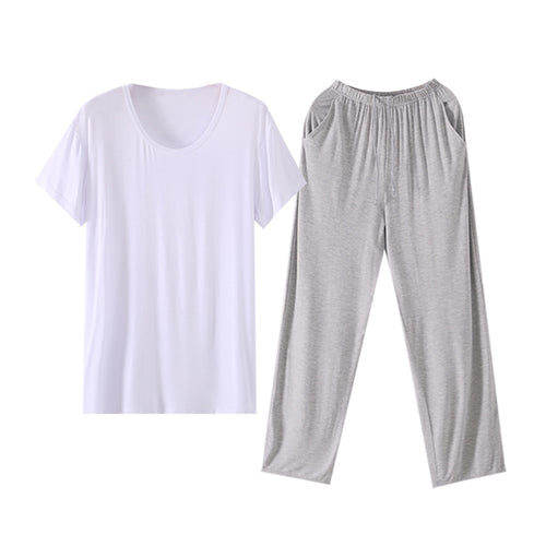 White Modal T-Shirt Pajama With Soft Trousers Lounge Set 3 Colors