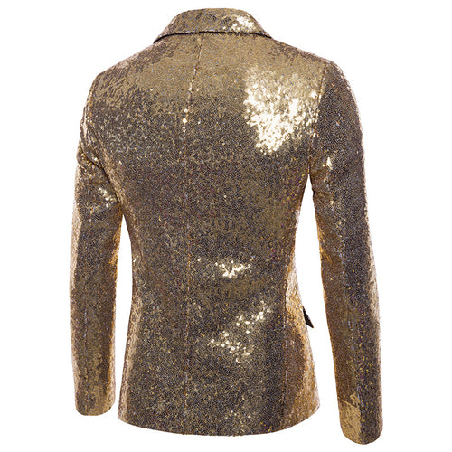 Gold Shiny Sequin Jacket Party Tuxedo Blazer