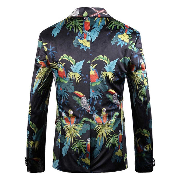 Slim Fit Two Buttons Floral Printed Blazer
