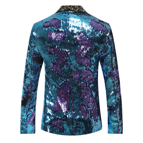 Purplish Blue Shawl Collar Sequins Dance Party Jacket
