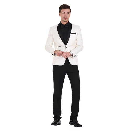2-Piece Print Suit Slim Fit Paisley White Suit
