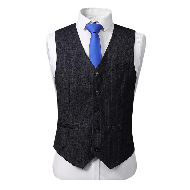 3-Piece Double Breasted Stripe Suit Black - Cloudstyle