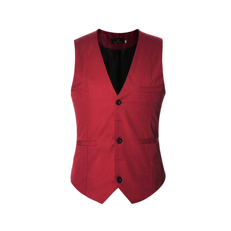 Slim Fit Solid Color Fashion Vest Red