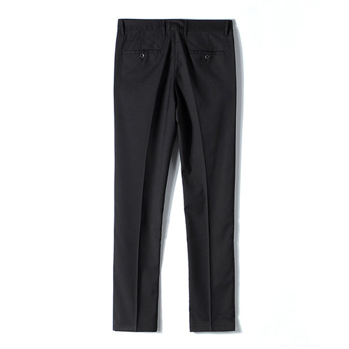 Black Classic Slim Fit Fit Stretch Flat Front Pants
