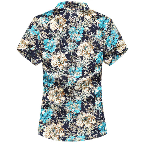 Slim Fit Floral Printing Shirt Blue