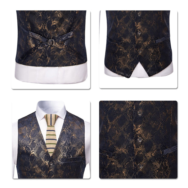 Slim Fit Snakeskin Printed Vest Black