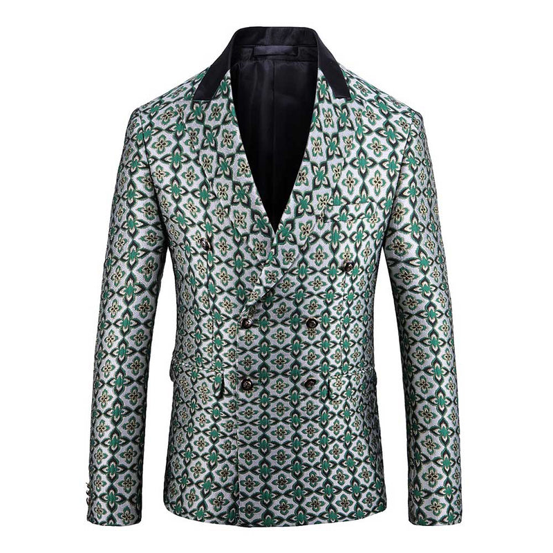 Slim Fit Double-Breasted Floral Blazer Green