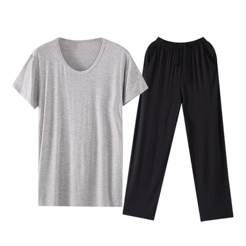 Modal Soft Pajama T-Shirt With Black Trousers 4 Colors