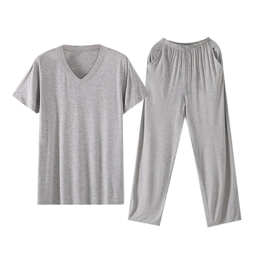 Solid Colored Pajama Set V-Neck T-Shirt & Trousers 4 Colors
