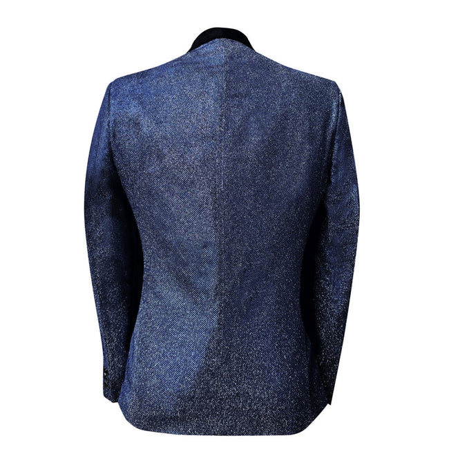 2-Piece Slim Fit Shawl Collar Stylish Suit Blue