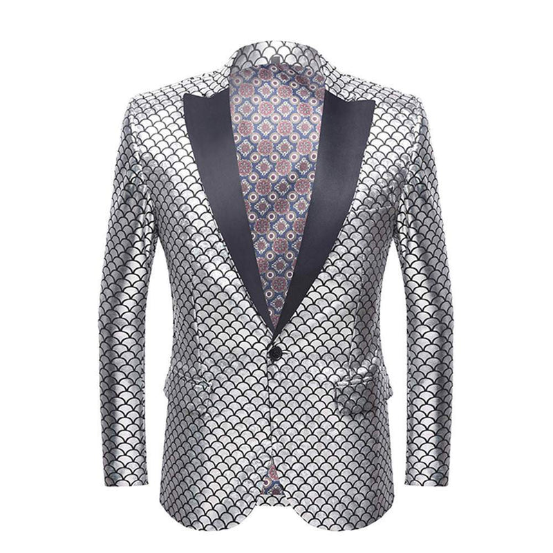 Slim Fit Fish Scale Print Blazer Silver