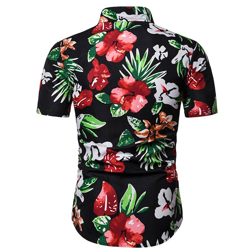 Slim Fit Floral Casual Shirt Red