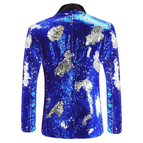 Blue Buttonless Reversible Sequins Satin Collar Blazer