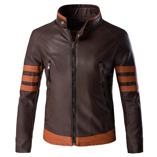 Stand Collar Motorcycle Jacket Brown