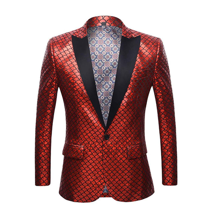 Slim Fit Fish Scale Print Blazer Red