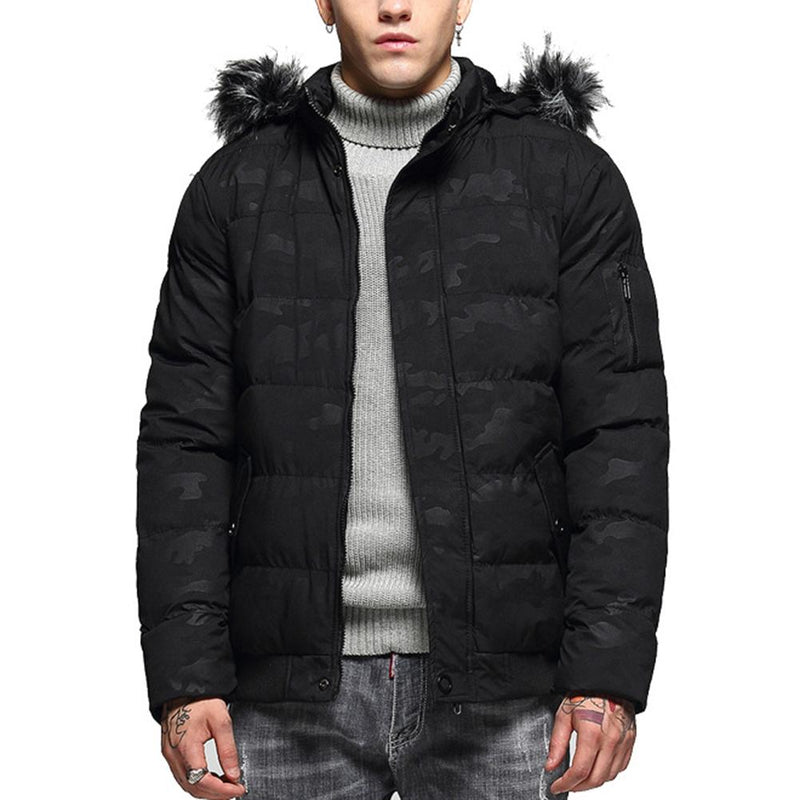 Hooded Camouflage Quilted Coat Black