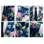 2-Piece Floral Print Suit Slim Fit Navy Suit