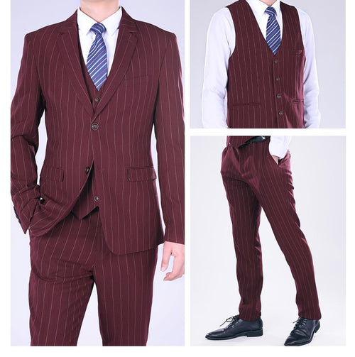 Three Piece Guards Red Suit Stripe Design Suit