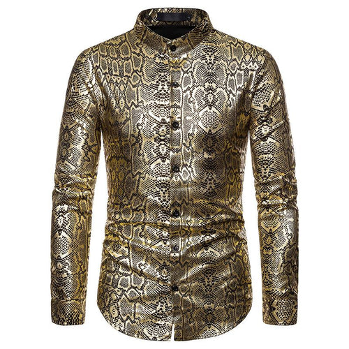 Regular Fit Snakeskin Stamping Shirt Gold Cloudstyle