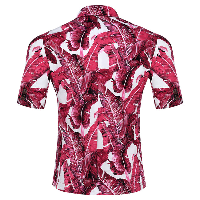2-Piece Leaf Printed Short Sleeve Suit Pink