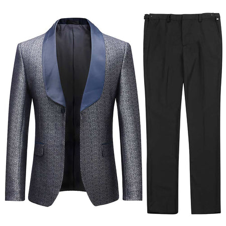 2-Piece Slim Fit Digital Print Silver Suit