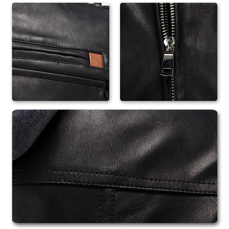 Hooded Leather Jacket Black - Cloudstyle