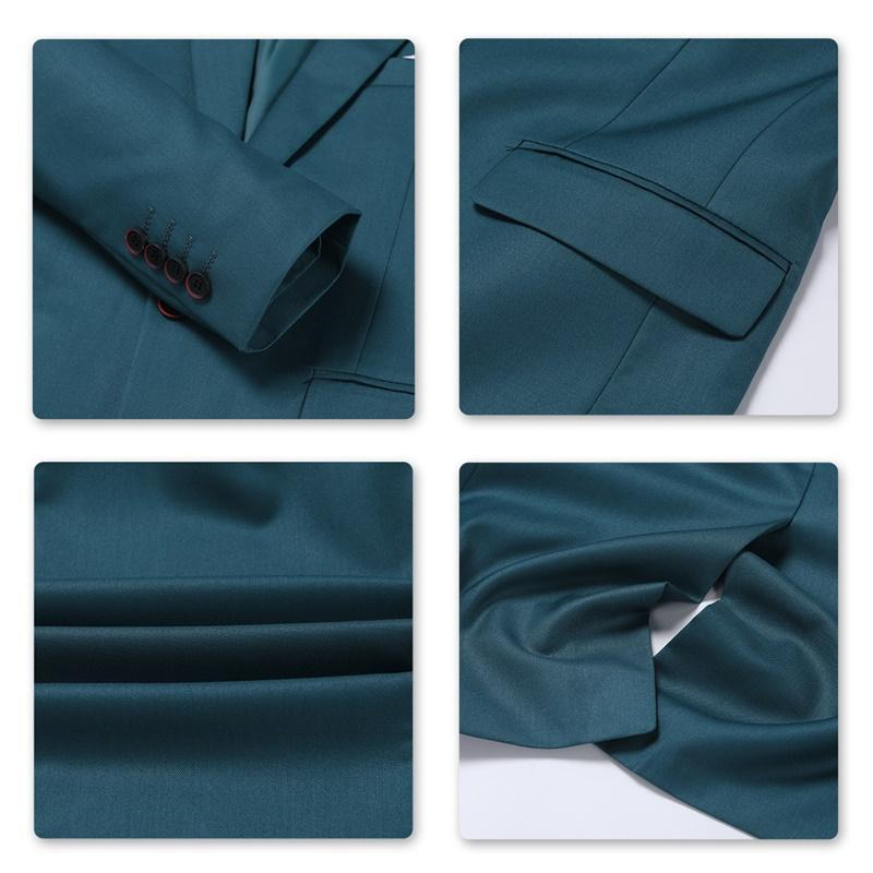 DarkCyan 3-Piece Suit Slim Fit Two Button Suit
