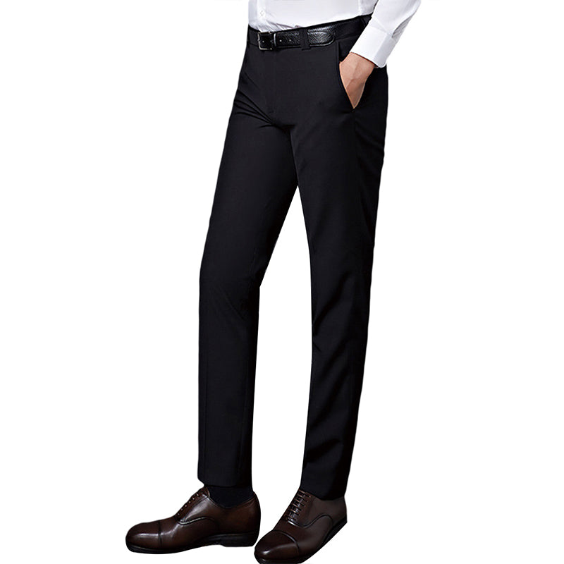 Black Flat Front Thin Twill Suit Dress Pants