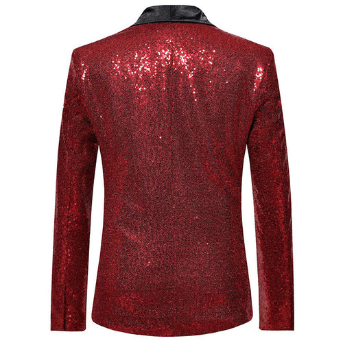 Shiny Sequin Jacket Red Party Dinner Blazer