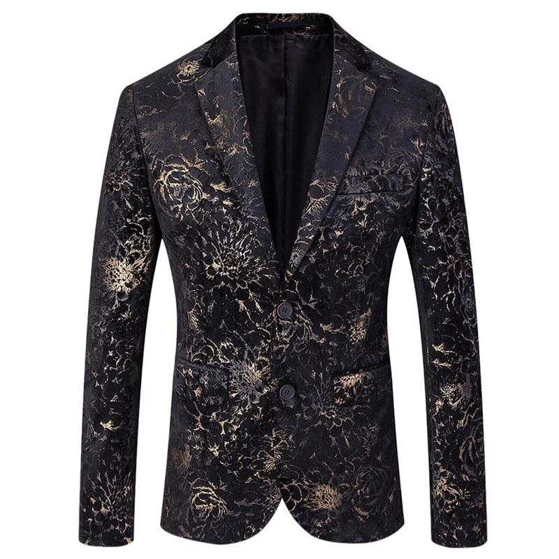 Gold Printing Suit 3-Piece Slim Fit Floral Suit