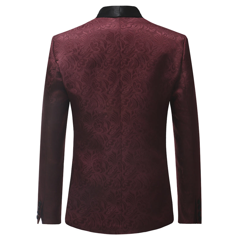 Maroon 2-Piece Print Suit Slim Fit Dress Coat