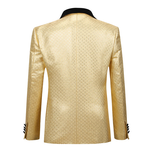 2-Piece Scale Print Shiny Gold Suit