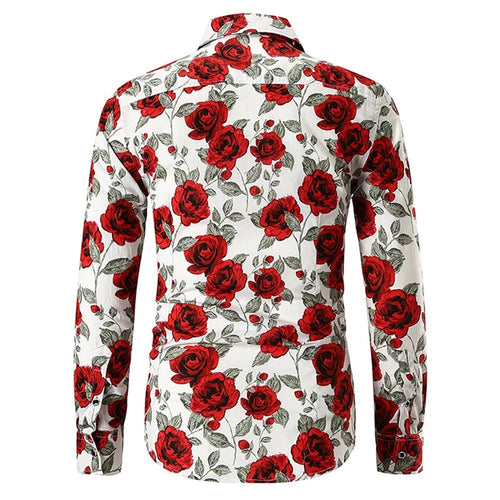Slim Fit Rose Print Shirt White