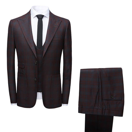 3-Piece Slim Fit Houndstooth Dress Suit Black