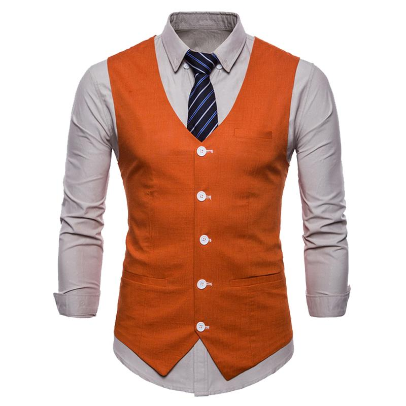 Slim Fit Skinny Dress Vest Orange