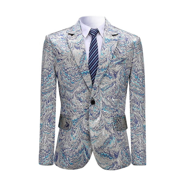 Slim Fit Peacock Print Blazer Grey