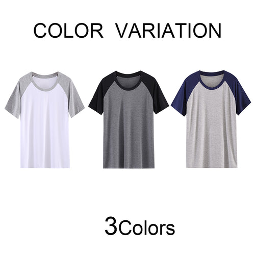 Round Collar Pajama T-Shirt With Raglan Sleeves 3 Colors