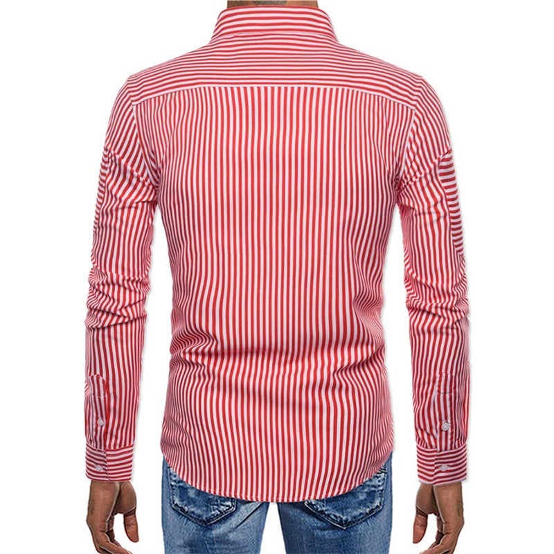 Regular Fit Stripe Casual Shirt Red