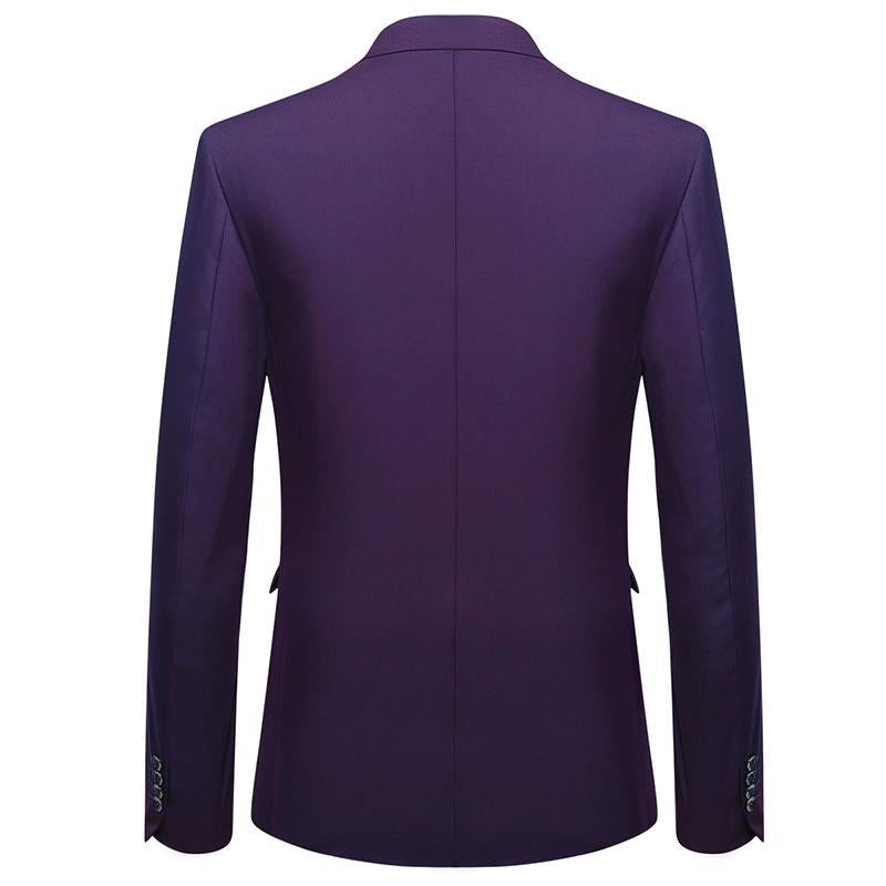 3-Piece Slim Fit Classic Casual Purple Suit