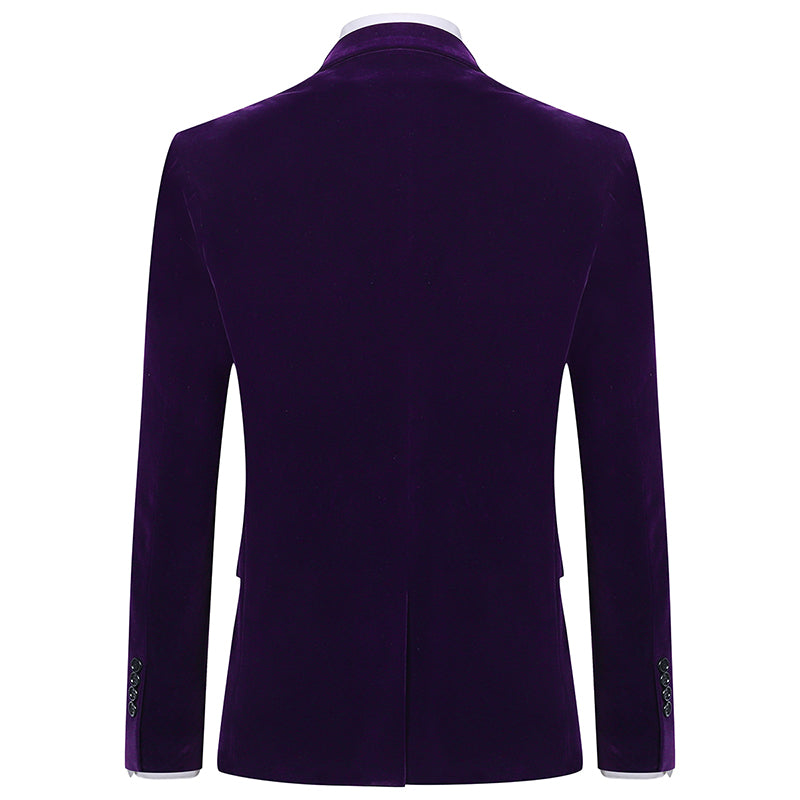 Slim Fit 2-Piece Purple Pleuche Tuxedo Suit
