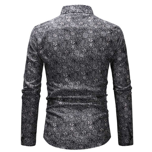 Slim Fit Grey Floral Casual Shirt