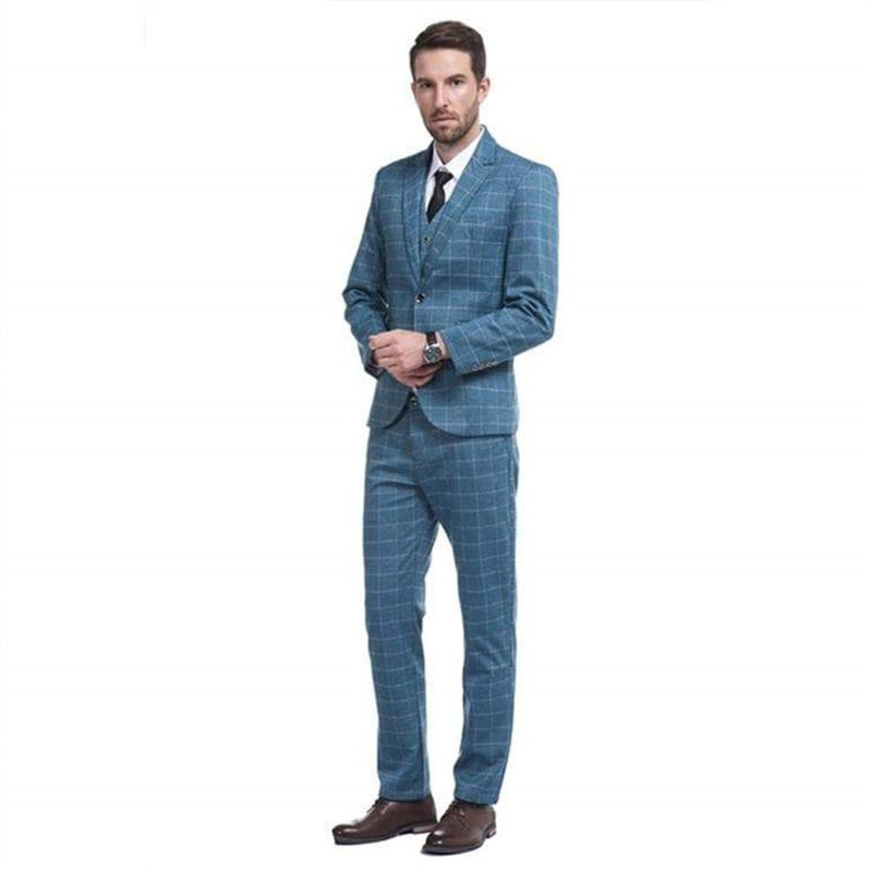 3-Piece Slim Fit Plaid Modern Suit 2 Colors - Cloudstyle