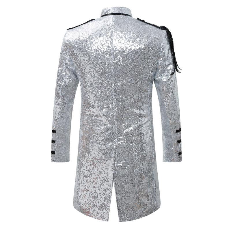 Party Coats Slim Fit Silver Sequin Robe
